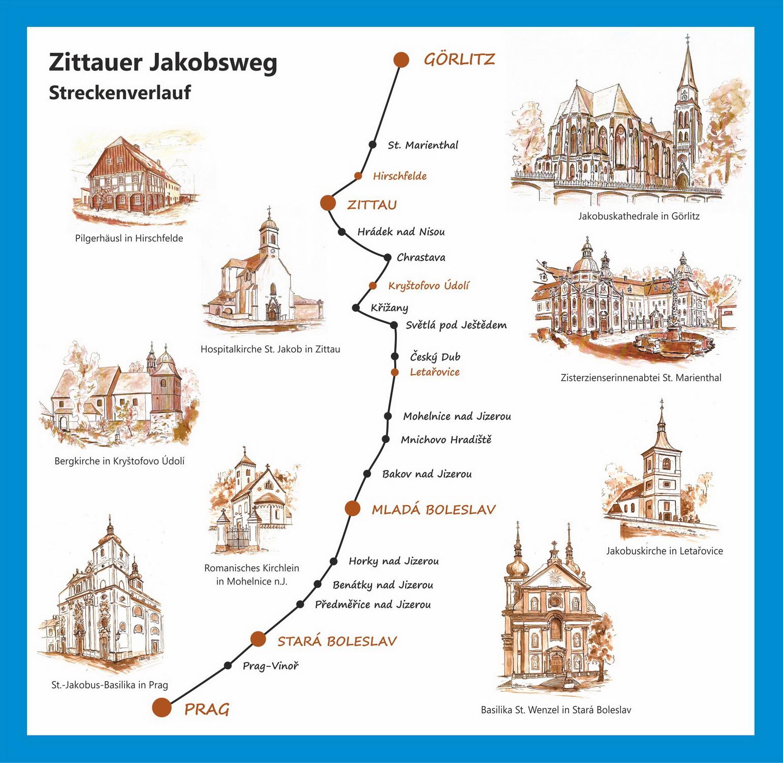 Verlauf des Zittauer Jakobsweges