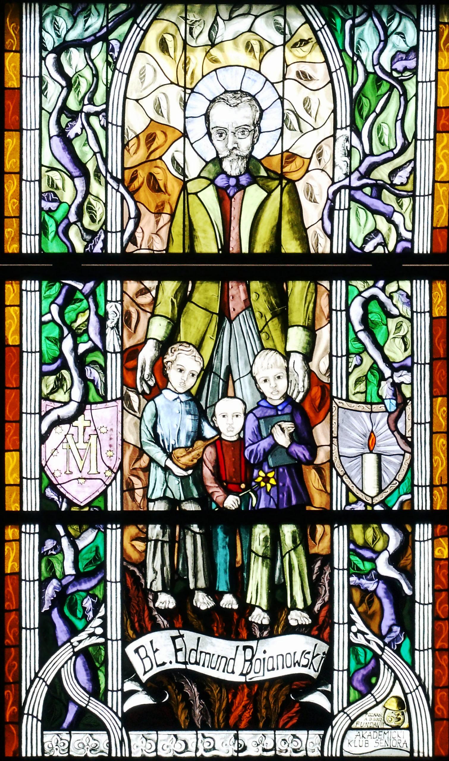 Edmund Bojanowski – Fensterbild in der Kirche des hl. Adalbert in Posen/Poznań, Quelle: wikipedia