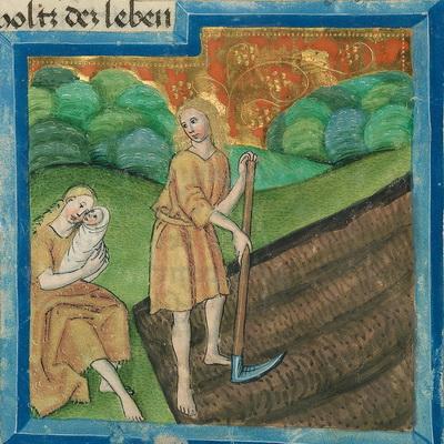 Adam bei der Feldarbeit, Eva mit Kind (vgl. Gen 3,16-19) – Illustration aus der Münchener Furtmeyr-Bibel, Blatt 11rb (2), Quelle: Bayrische Staatsbibliothek, Lizenz CC BY-NC-SA