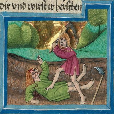 Kains Brudermord (Gn 4,8) – Illustration aus der Münchener Furtmeyr-Bibel, Blatt 11va, Quelle: Bayrische Staatsbibliothek, Lizenz CC BY-NC-SA