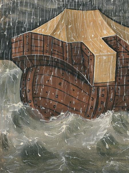 Die Sintflut (Gen 7,10-12) – Illustration aus der Münchener Furtmeyr-Bibel, Blatt 13 rb (2), Quelle: Bayrische Staatsbibliothek, Lizenz CC BY-NC-SA