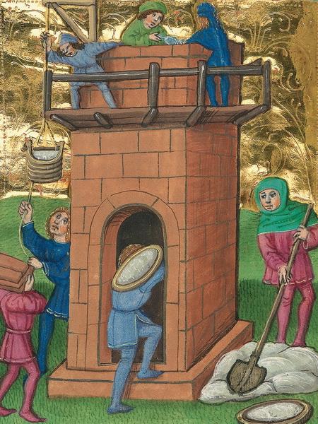Turmbau zu Babel – Illustration aus der Münchener Furtmeyr-Bibel, Blatt 15vb, Quelle: Bayr. Staatsbibl., Lizenz CC BY-NC-SAenz CC BY-NC-SA