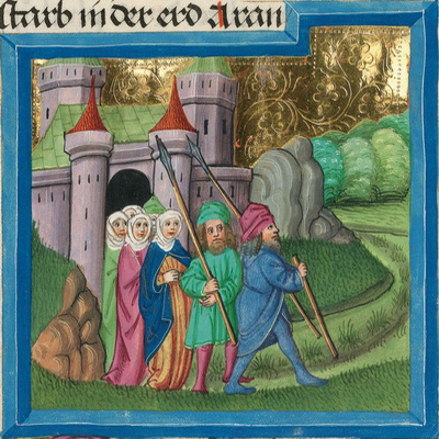 Abrahams Aufbruch nach Kanaan (Gen 12,4) – Illustration aus der Münchener Furtmeyr-Bibel, Blatt 16va, Quelle: Bayrische Staatsbibliothek, Lizenz CC BY-NC-SA