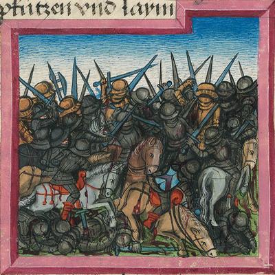 Kampf der vier Könige (Gen 14,1-9) – Münchener Furtmeyr-Bibel, Blatt 17 vb, Quelle: Bayr. Staatsbibliothek, Lizenz CC BY-NC-SA