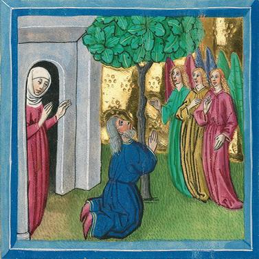 Die drei Engel vor Abraham (Gen 18,2) – Münchener Furtmeyr-Bibel, Blatt 20 ra, Quelle: Bayrische Staatsbibliothek, Lizenz CC BY-NC-SA