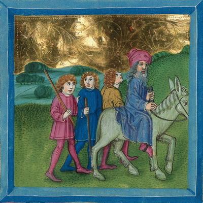 Abraham bricht mit Isaak und Dienern zur Opferung auf (Gen 22,3) – Illustration aus der Münchener Furtmeyr-Bibel, Blatt 24vb, Quelle: Bayrische Staatsbibliothek, Lizenz CC BY-NC-SA