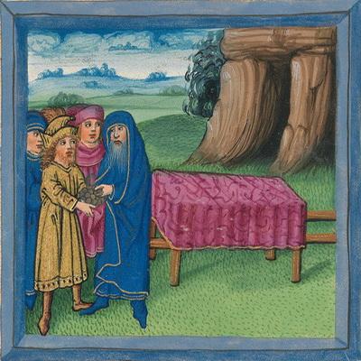 Abraham kauft einen Acker von Ephron (Gen 23,17) – Illustration aus der Münchener Furtmeyr-Bibel, Blatt 24vb, Quelle: Bayrische Staatsbibliothek, Lizenz CC BY-NC-SA