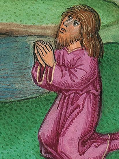 Bild: Der Knecht am Brunnen (Gen 24,9) – Münchener Furtmeyr-Bibel, Blatt 25rb, Quelle: Bayr. Staatsbibl., Lizenz CC BY-NC-SA