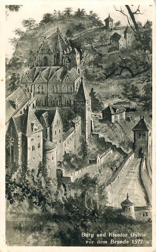 Ehemaliges Coelestinerkloster auf dem Berg Oybin vor dem Brand 1577, Foto: Künstlerkarte 1921