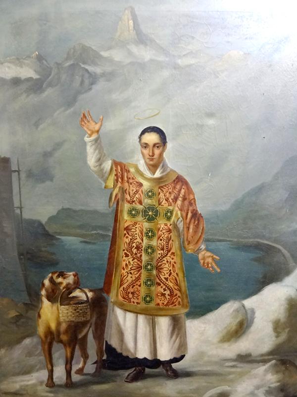 Bernhard von Menthon – Tafelbild von 1832, Hospiz auf dem Großen St. Bernhard, Quelle: Wikipedia