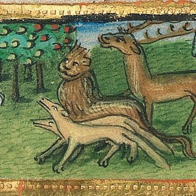 Gottvater führt Adam die Tiere zu – Illustration aus der Münchener Furtmeyr-Bibel,  Blatt 10ra (2), Quelle: Bayrische Staatsbibliothek, Lizenz CC BY-NC-SA