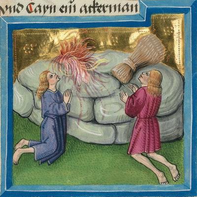 Kains und Abels Opfer (Gen 4,9) – Illustration aus der Münchener Furtmeyr-Bibel,  Blatt 11va (1), Quelle: Bayrische Staatsbibliothek, Lizenz CC BY-NC-SA