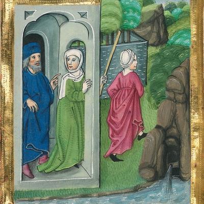 Die schwangere Hagar flüchtet vor Saras harter Behandlung (Gen 18 vb) – Illustration aus der Münchener Furtmeyr-Bibel, Blatt 14 va, Quelle: Bayrische Staatsbibliothek, Lizenz CC BY-NC-SA