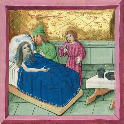 Der Knecht leistet Abraham einen Eid (Gen 24,9) – Münchener Furtmeyr-Bibel, Blatt 25ra, Quelle: Bayr. Staatsbibl., Lizenz CC BY-NC-SA
