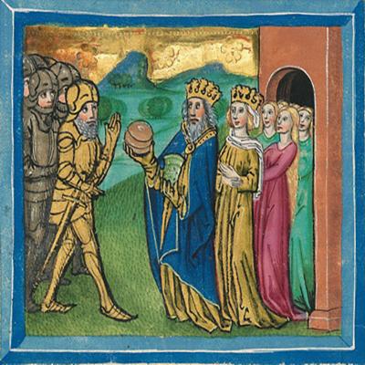 Melchisedek segnet Abraham – Illustration aus der Münchener Furtmeyr-Bibel, Blatt 18ra (2), Quelle: Bayrische Staatsbibliothek, Lizenz CC BY-NC-SA