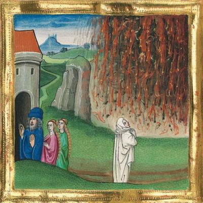 Untergang Sodoms – Münchener Furtmeyr-Bibel, Blatt 21vb (1) , Quelle: Bayr. Staatsbibl., Lizenz CC BY-NC-SA
