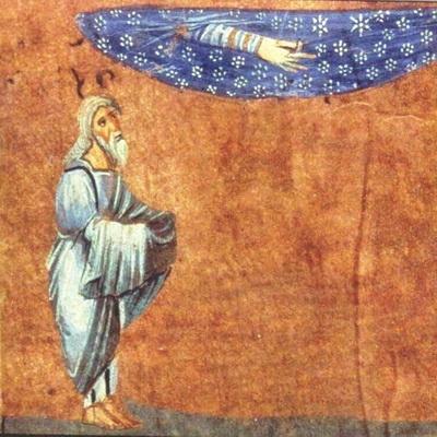 Bild: Abraham als der Empfangende – Illustration aus der Wiener Genesis, Quelle: https://onb.digital/